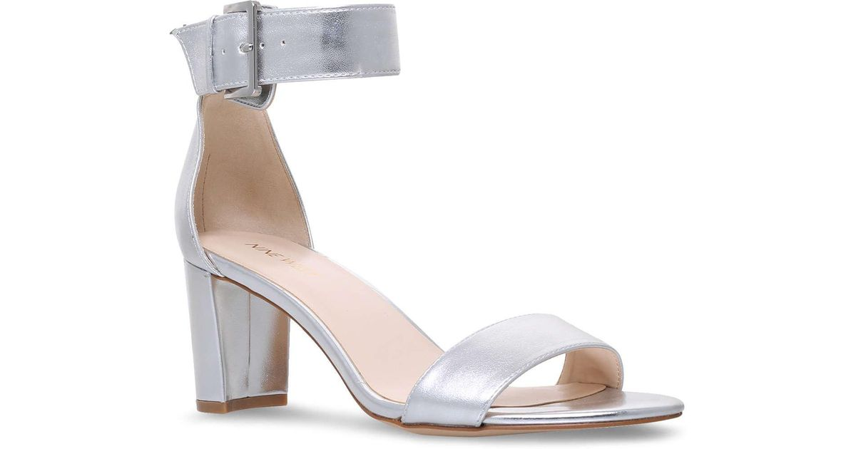 cac5924e6769 Nine West Silver  playdown  Mid Heel Sandals in Metallic - Save  44.11764705882353% - Lyst