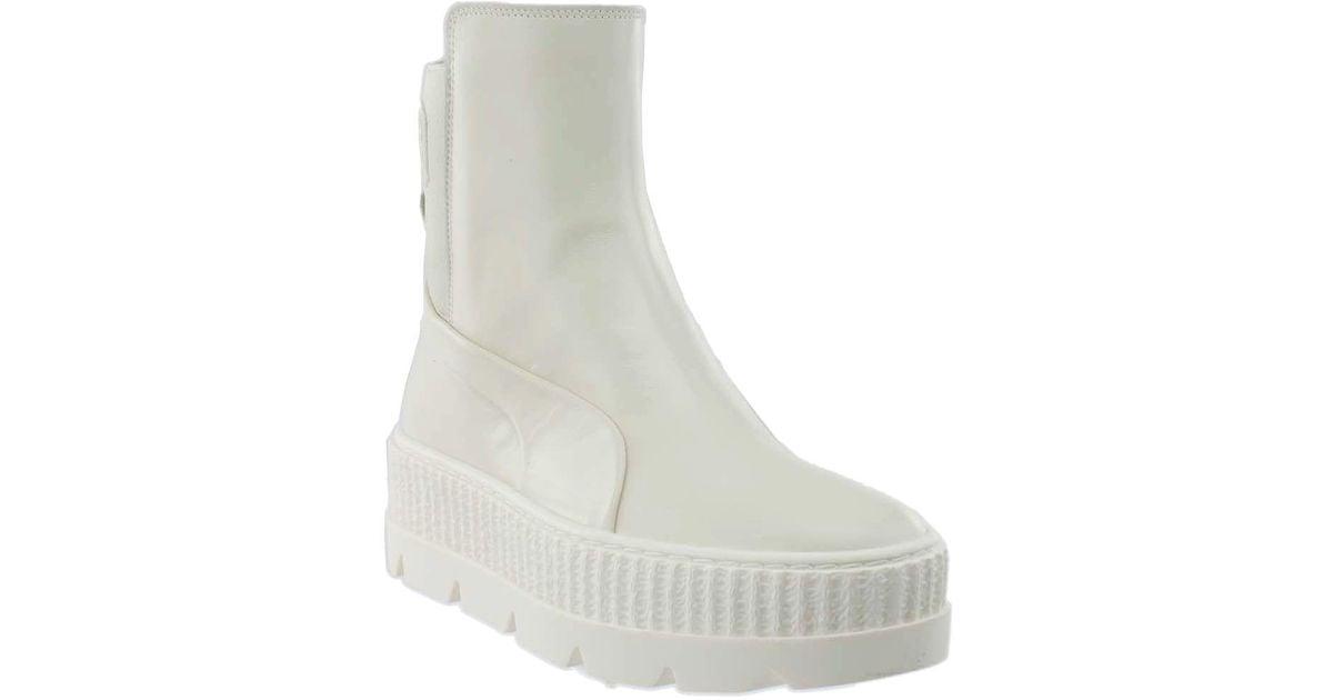 70586fdcc2c2 Lyst - PUMA Fenty By Rihanna Chelsea Sneaker Boot in White