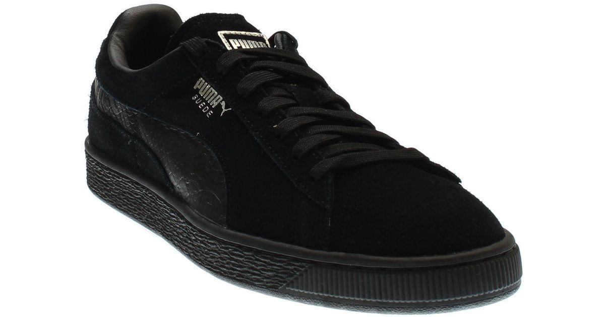 new product 89579 ac07b PUMA - Black Suede Classic Mono Reptile for Men - Lyst