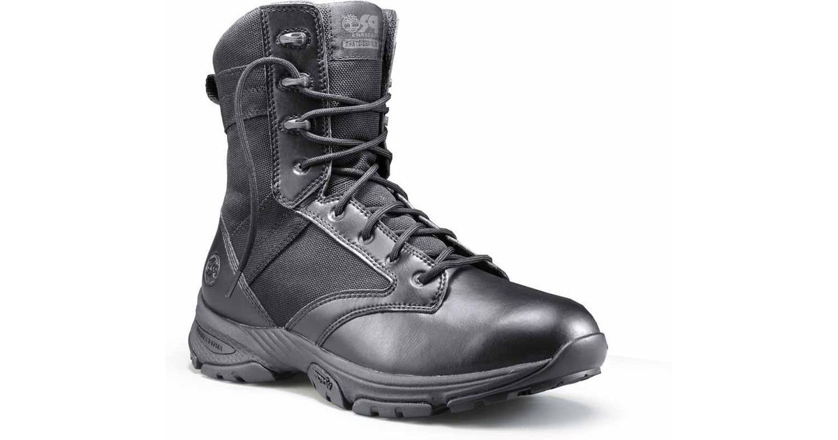 f54a554b400 Timberland - Black 8 Inch Valor Tactical Soft Toe Side-zip Work Boots for  Men - Lyst