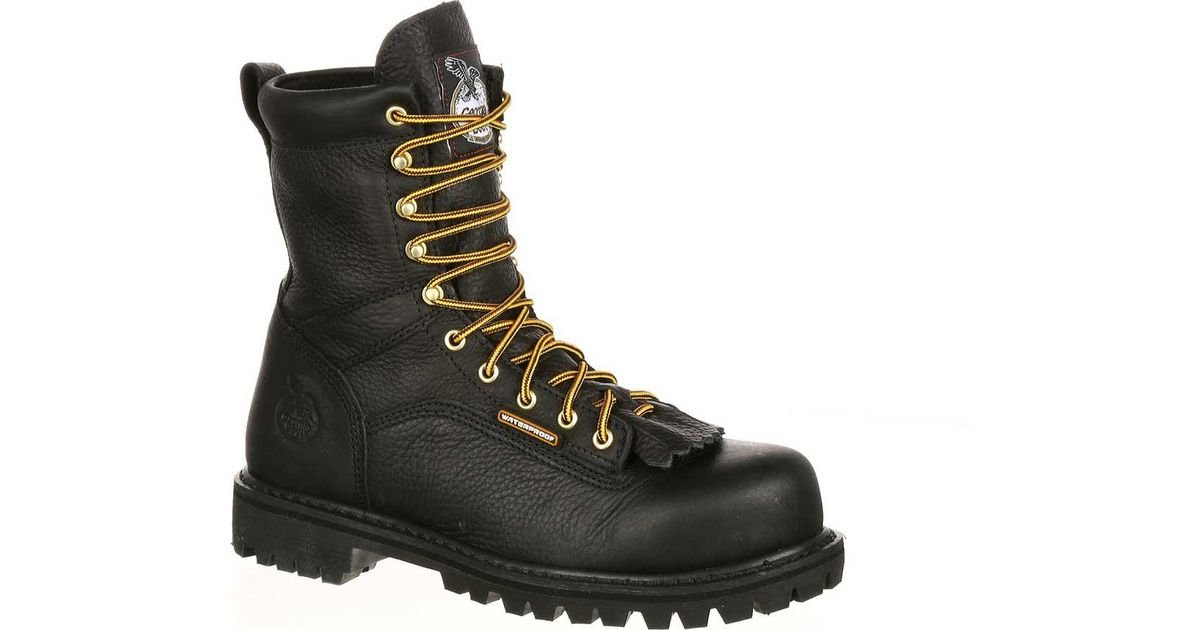 7949f67f7b4 Georgia Boot Black Gbot078 Lace-to-toe Steel Toe Waterproof Work Boot for  men