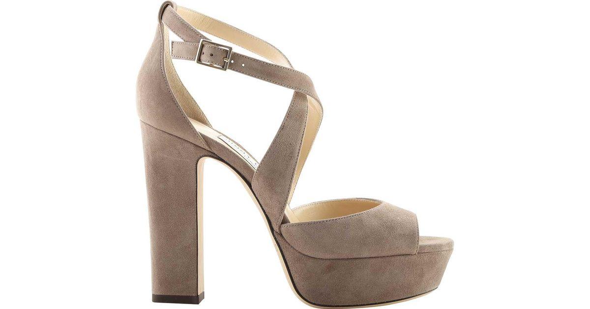 caff7da72a6d Lyst - Jimmy Choo April 120 Suede Platform Sandal