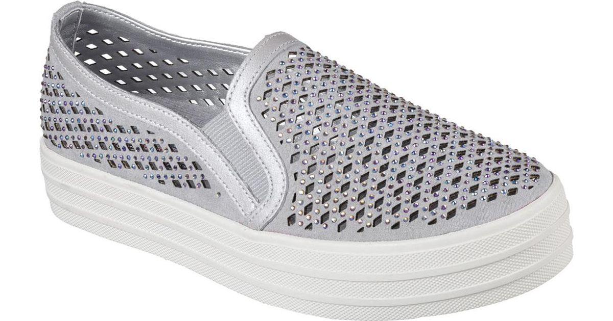 597fbc0535ca9 Skechers Metallic Double Up Diamond Girl Flatform Slip-on Sneaker