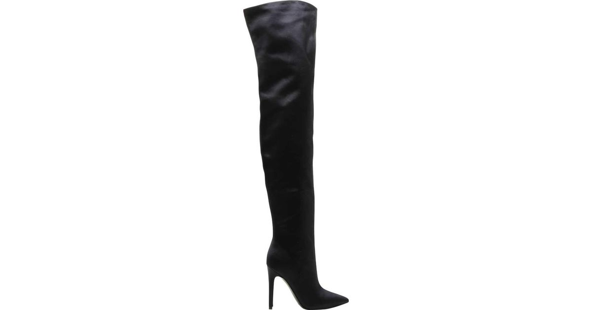 1496652f70 Kendall + Kylie Alexx 2 Satin Thigh-high Stiletto-heeled Boot in Black -  Lyst