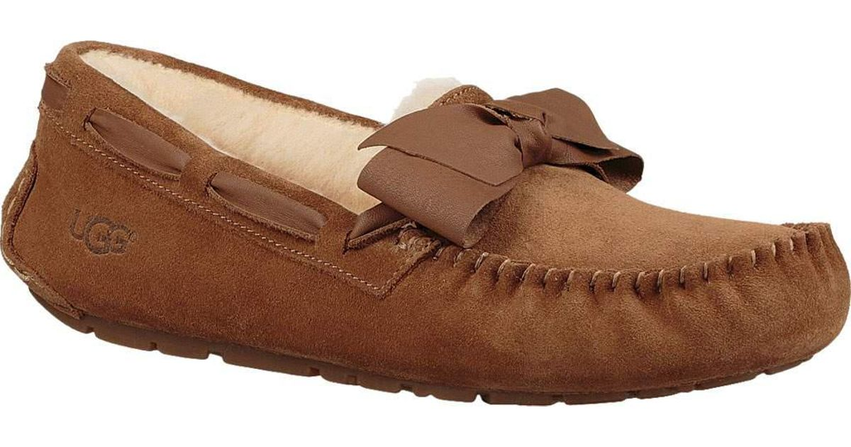 288638bc6fc Ugg Brown Dakota Leather Bow Moccasin Slipper