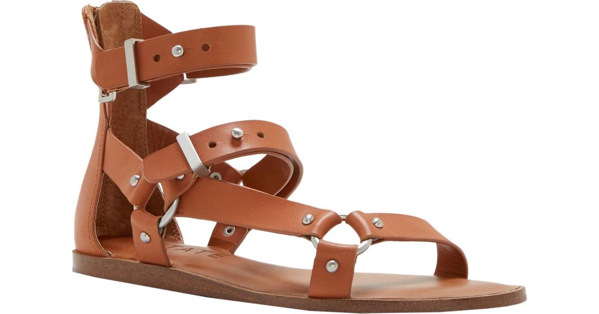 1.STATE Channdra Black Leather Studded Strappy Flat Gladiator Buckle Sandals