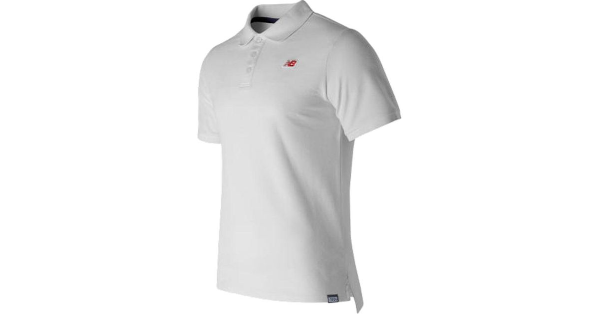 69b692a538c75 New Balance Mt71502 Cotton Pique Polo Tee in White for Men - Lyst