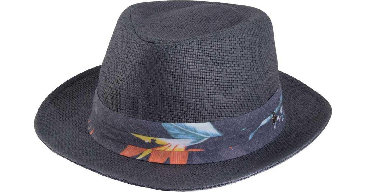 aeefcccd Lyst - Original Penguin Wide Brim Straw Fedora in Blue for Men