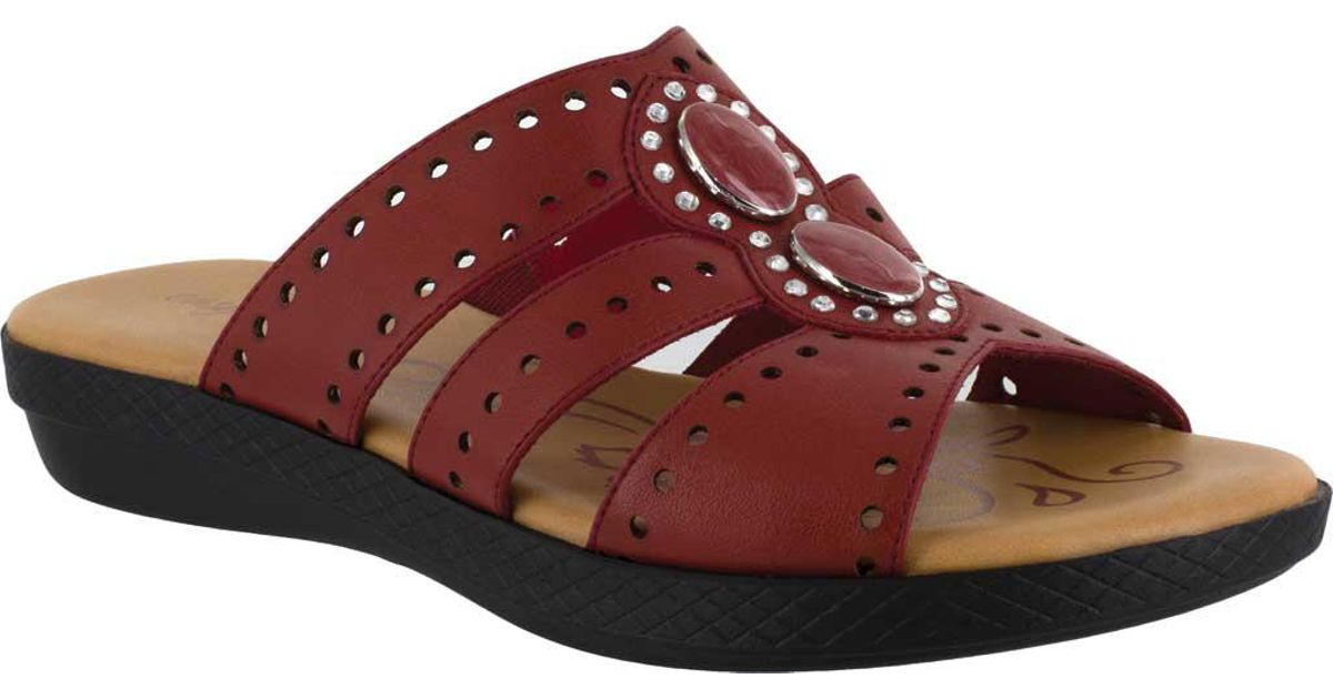aa339261d537 Lyst - Easy Street Vara Jeweled Sandals in Red - Save 2%