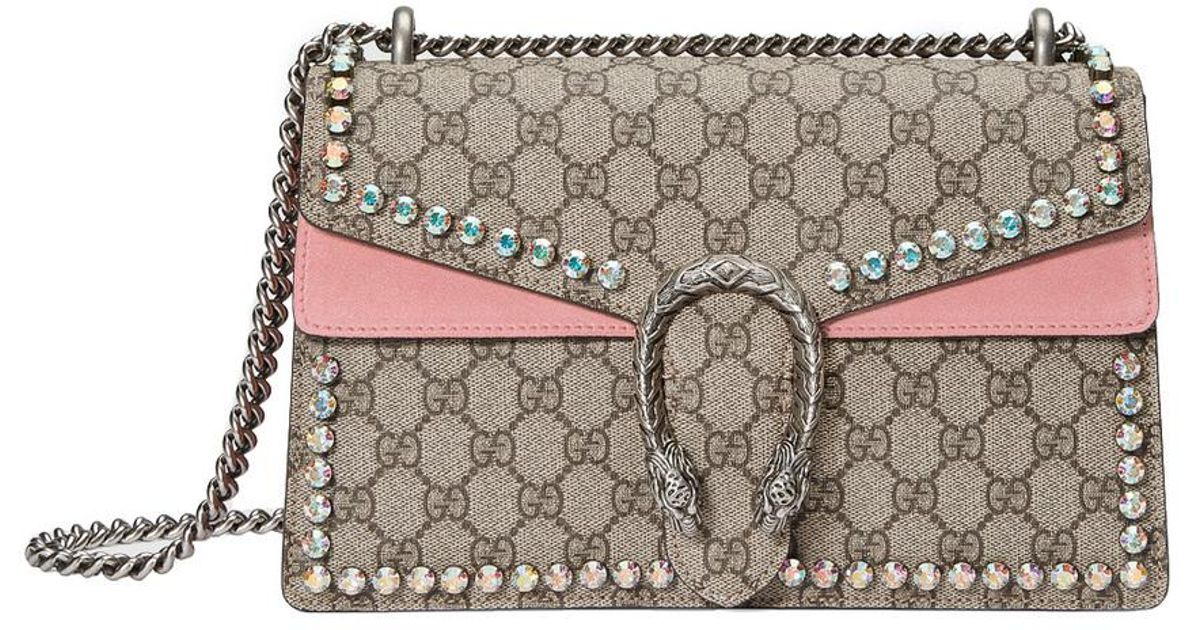 8e56dbfe03df Gucci Pink Dionysus Gg Supreme Shoulder Bag With Crystals in Pink - Lyst