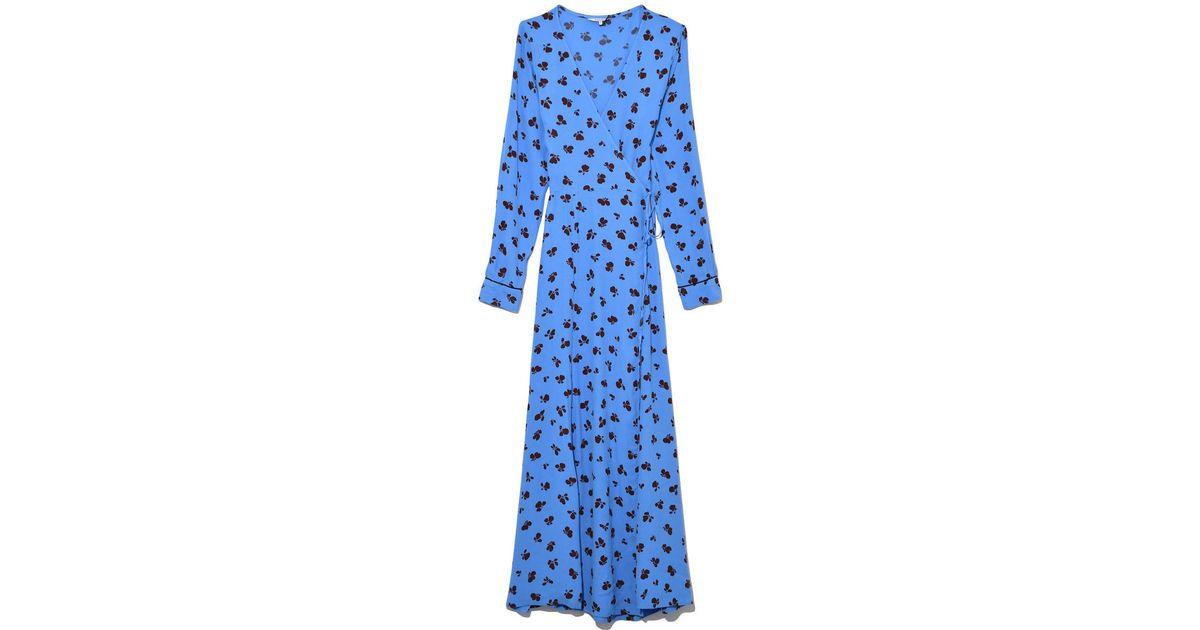 online here to buy performance sportswear Ganni Blue Roseburg Crepe Wrap Dress In Marina