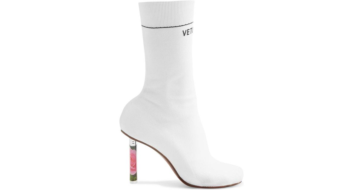 White Sock Ankle Boots - Lyst