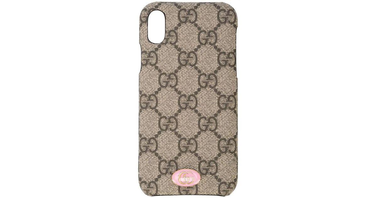 0c5010f2128184 Gucci GG Supreme Iphone Case in Brown - Lyst