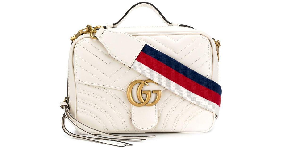 dde6888995f2 Gucci White Gg Marmont Matelasse Camera Bag in White - Lyst