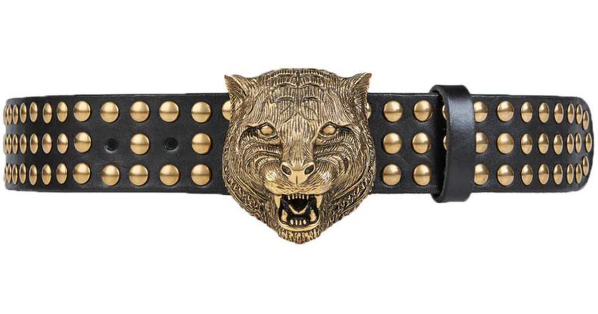 6a6855bea4a986 Gucci Black/gold Studded Tiger Head Belt in Black - Lyst