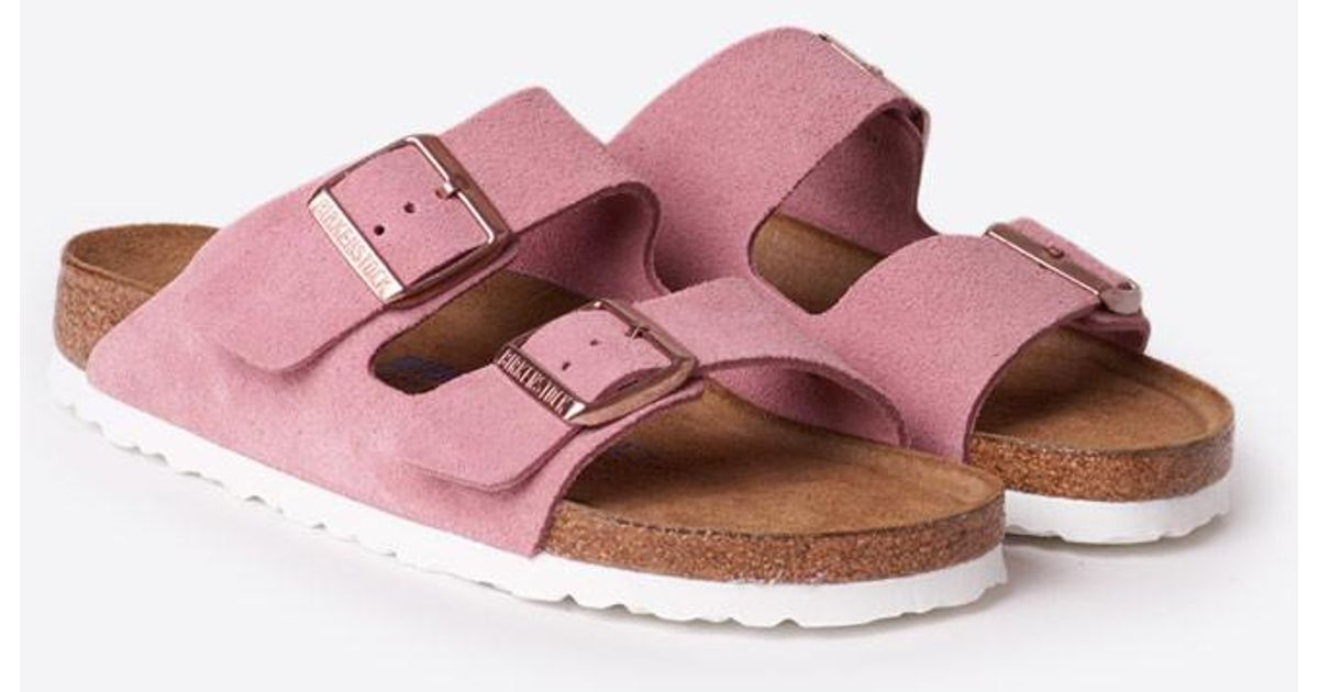 ad3e9697fd2 Lyst - Birkenstock Arizona Suede Soft Footbed Sandal in Pink