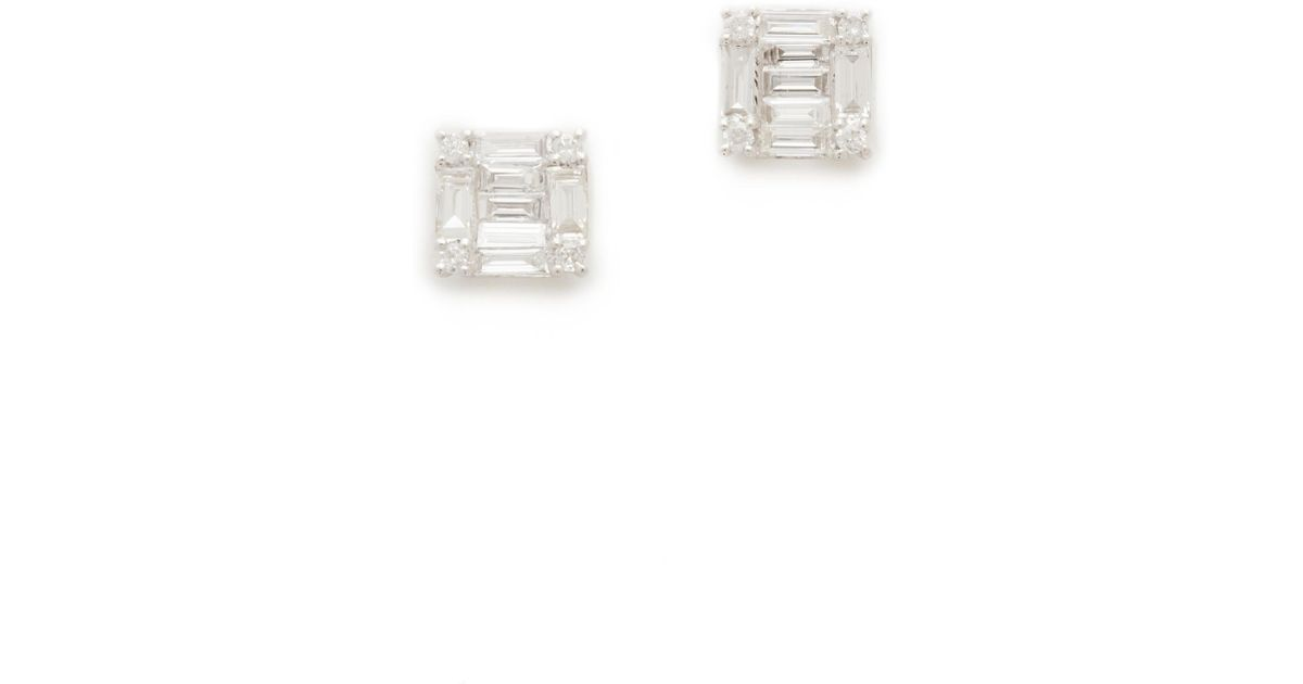 Shay 18k White Gold Square Stacked Baguette Stud Earrings qieukuT