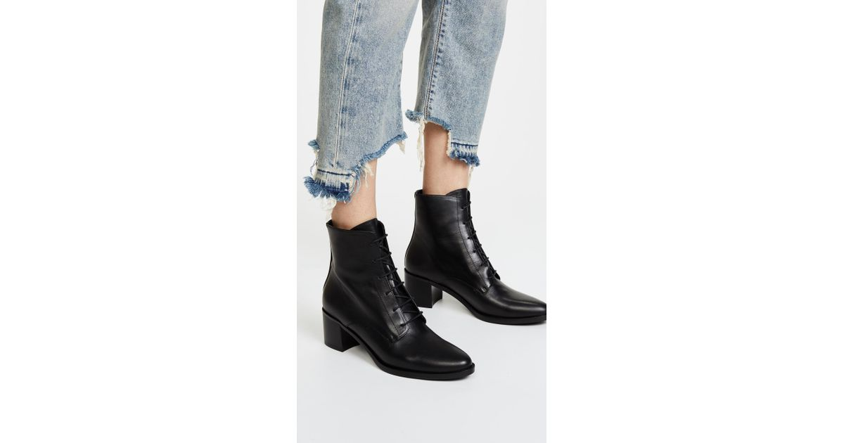 Ace Lace Up Booties in Black
