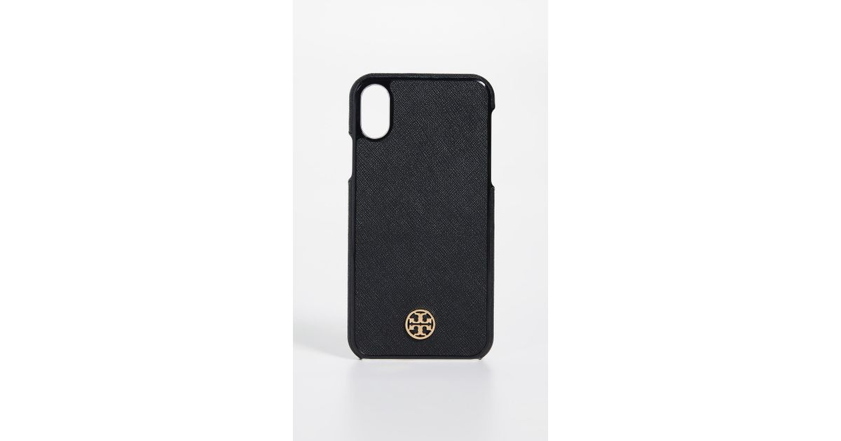 check out 16972 3ac46 Tory Burch Black Robinson Hardshell Iphone X Case
