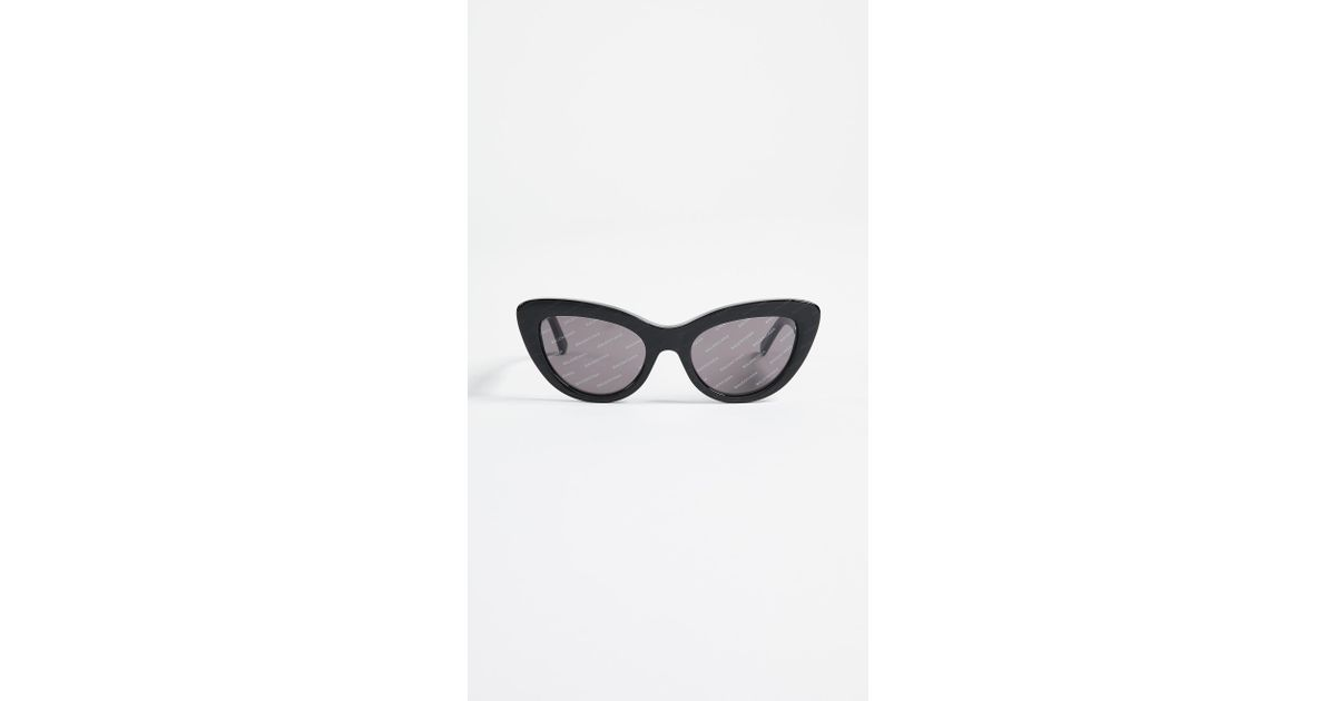 425ba823fb44 Balenciaga Logo Cat Eye Sunglasses in Black - Lyst