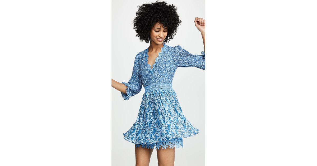 e9d9a337936a4 Alice + Olivia Jonna Pleated Deep V Mini Dress in Blue - Lyst