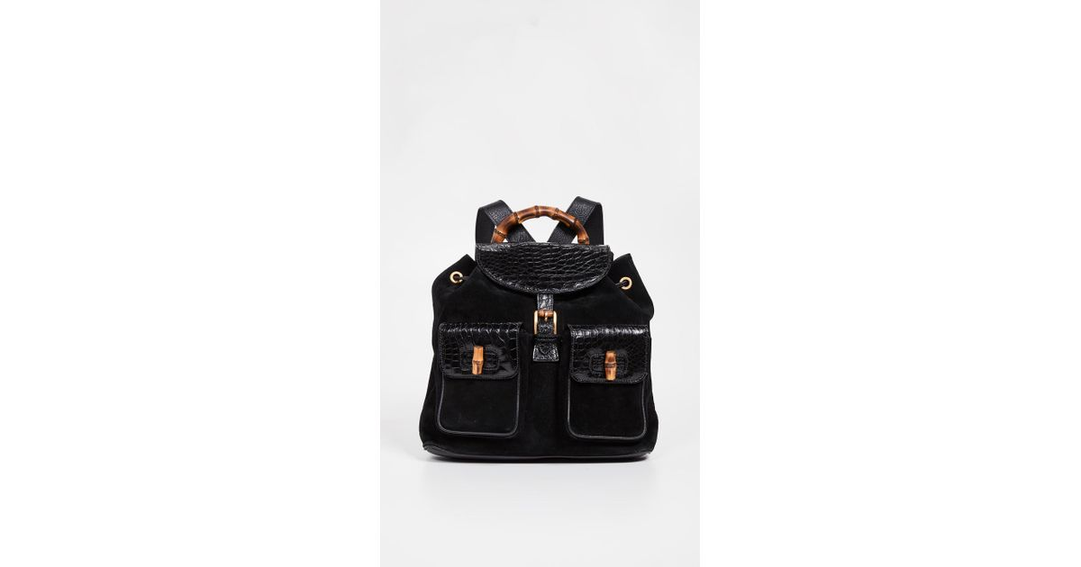 b28327bb52ab What Goes Around Comes Around Gucci Bamboo Large Backpack in Black - Lyst