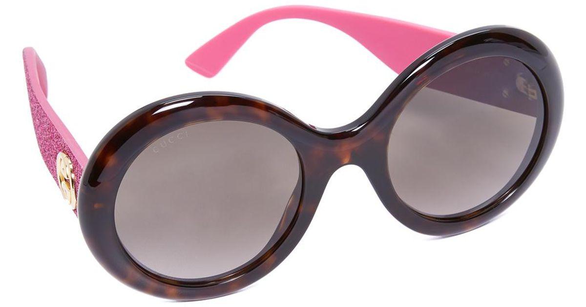 3c63e4f4314 Lyst - Gucci Urban Pop Glitter Round Sunglasses in Brown