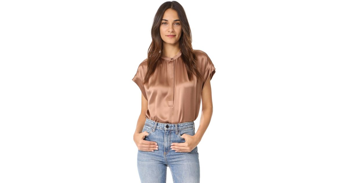 49173b5dfc430d Lyst - Vince Shirred Neck Blouse in Brown