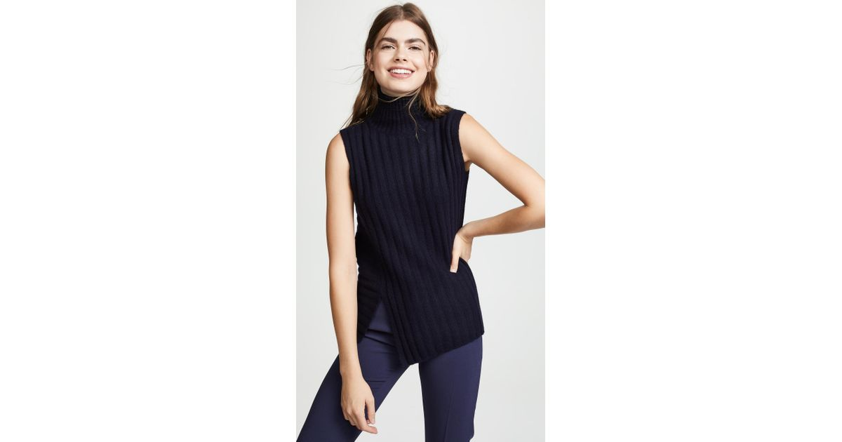 4c7205916bf93a Lyst - Vince Rib Sleeveless Turtleneck Sweater in Blue - Save 40%