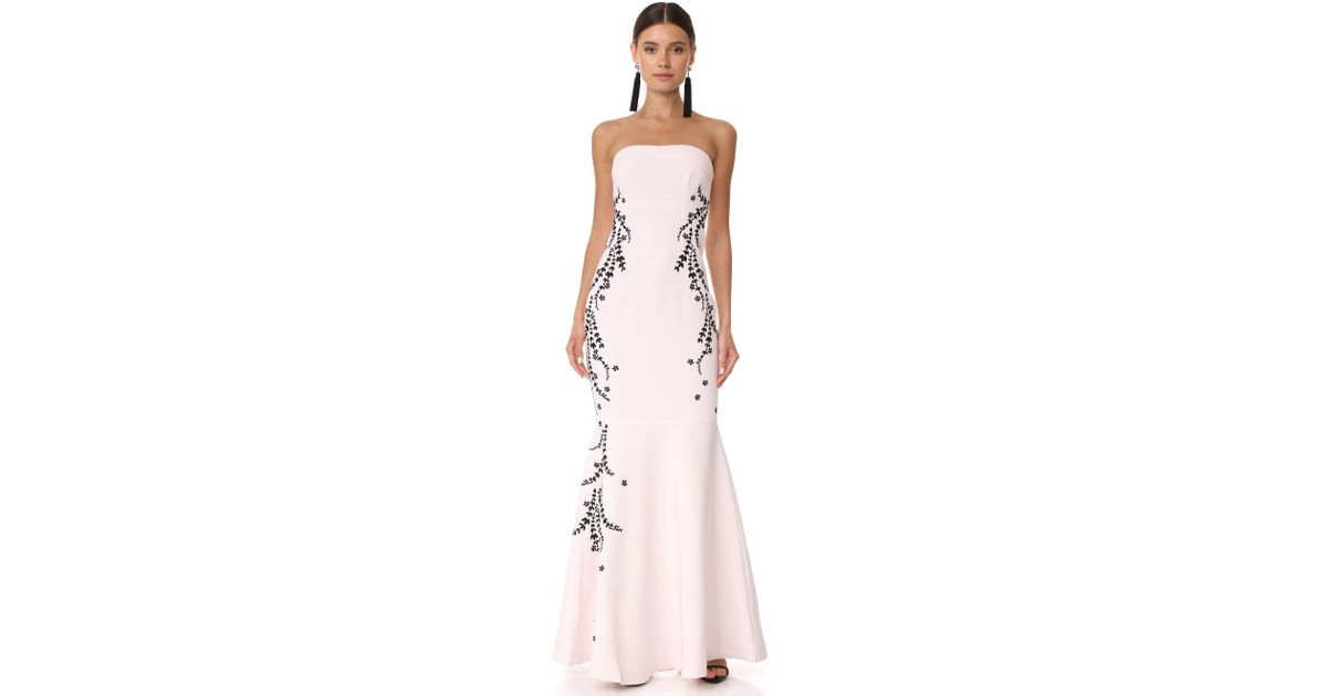 b1d68457c106 Lyst - Cinq À Sept Luna Embroidered Gown in Pink