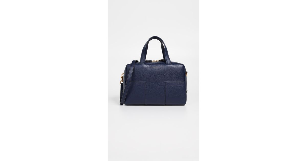 dabc65e7db8a Tory Burch Block T Pebbled Zip Satchel in Blue - Lyst