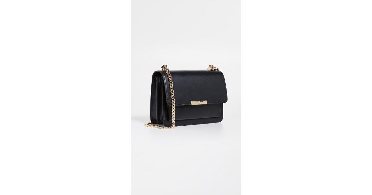 efba721cc39b MICHAEL Michael Kors Jade Large Gusset Shoulder Bag in Black - Lyst