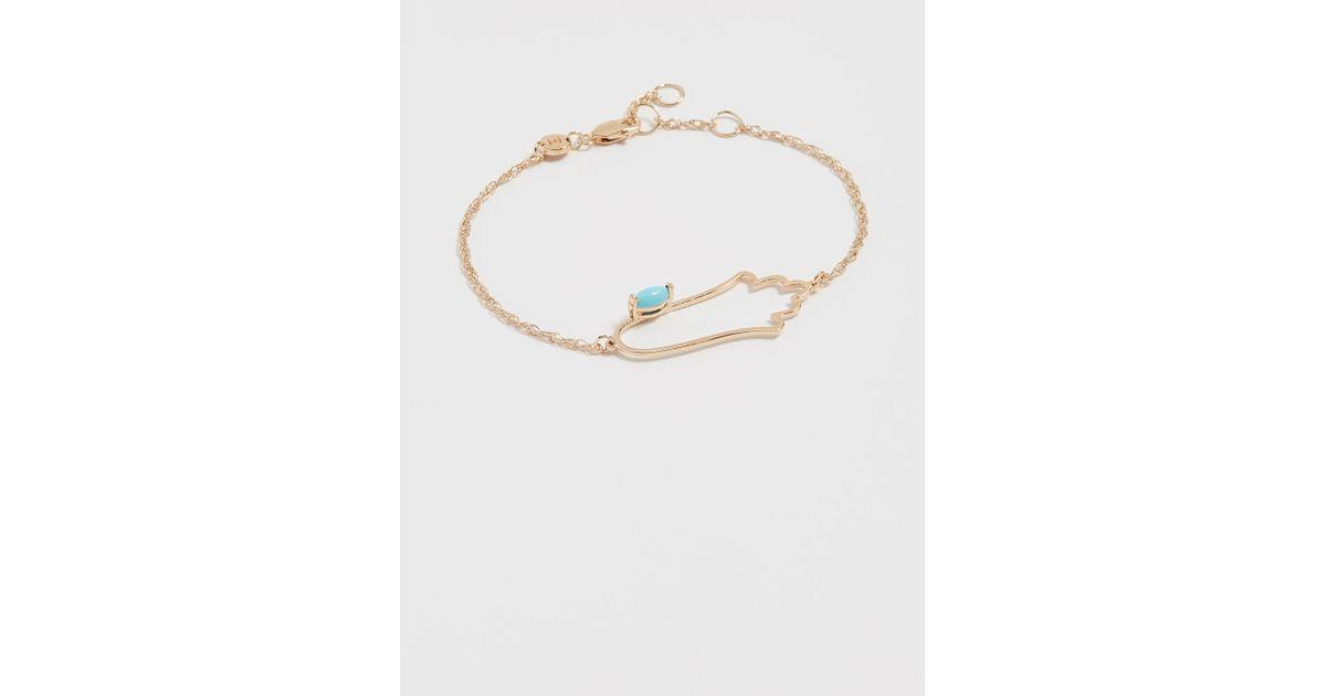 Jennifer Zeuner Open Hamsa Bracelet with Turquoise 2rW3p