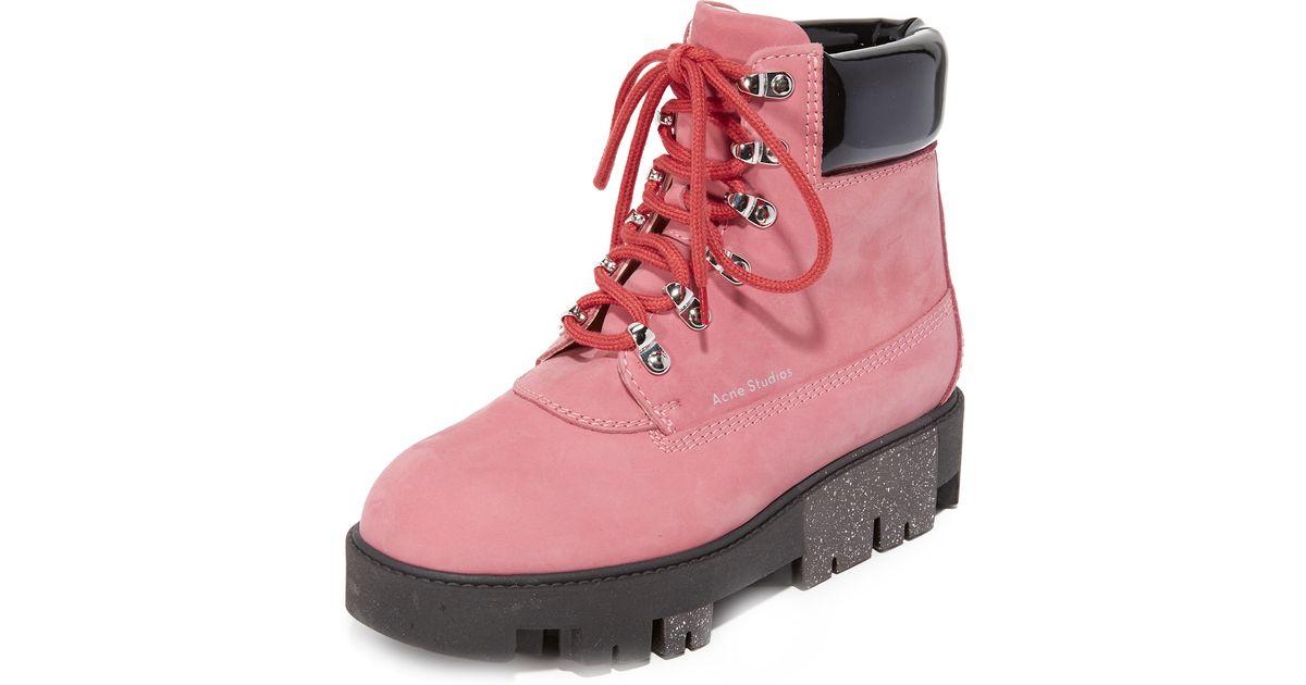 5a44ecff184 Acne Studios Pink Telde Hiking Booties