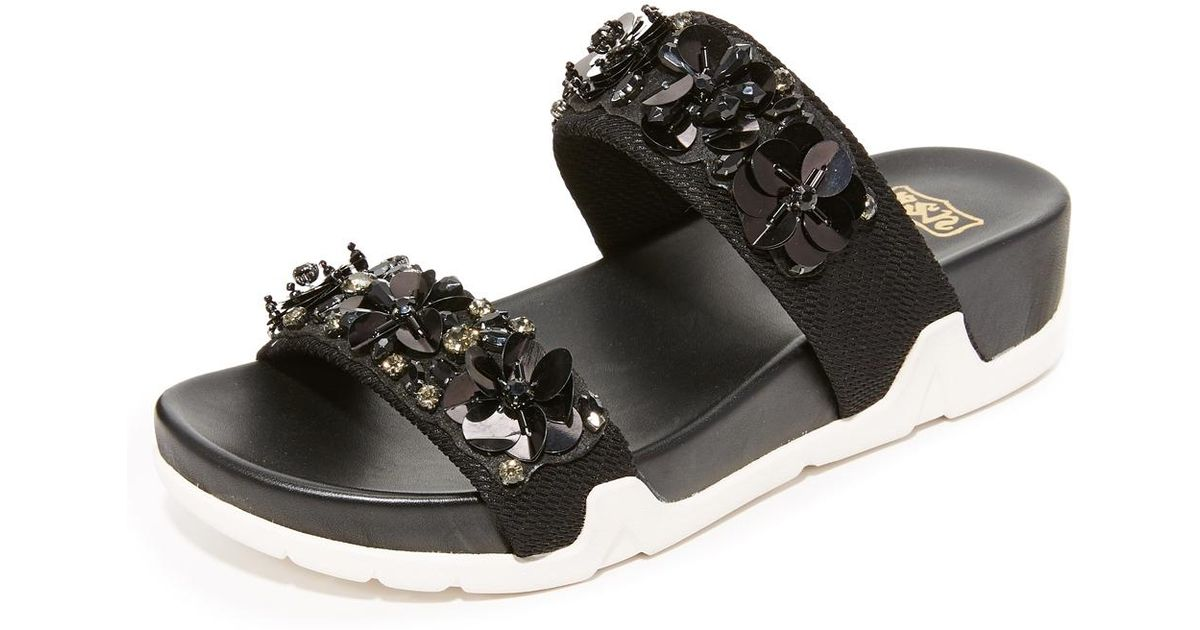 2e45ceab37236 Lyst - Ash Oman Flowers Slides in Black