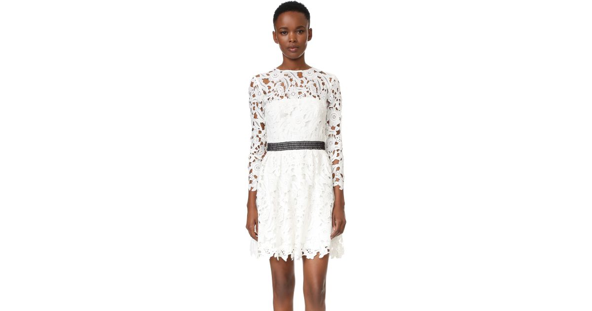 906abb1e50 Lyst - Cynthia Rowley Lace Long Sleeve Fit And Flare Dress in White