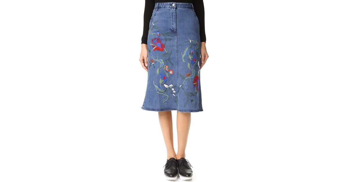 tibi marisol embroidered front slit denim skirt in blue lyst
