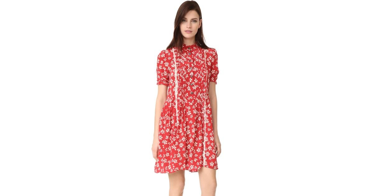 b087f1825 The Kooples Ruffle Floral Dress in Red - Lyst