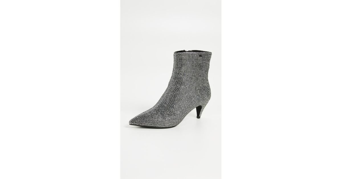 2973f554070 MICHAEL Michael Kors Blaine Flex Kitten Bootie (black/silver Glitter Chain  Mesh/hot Fix Stones) Women's Boots