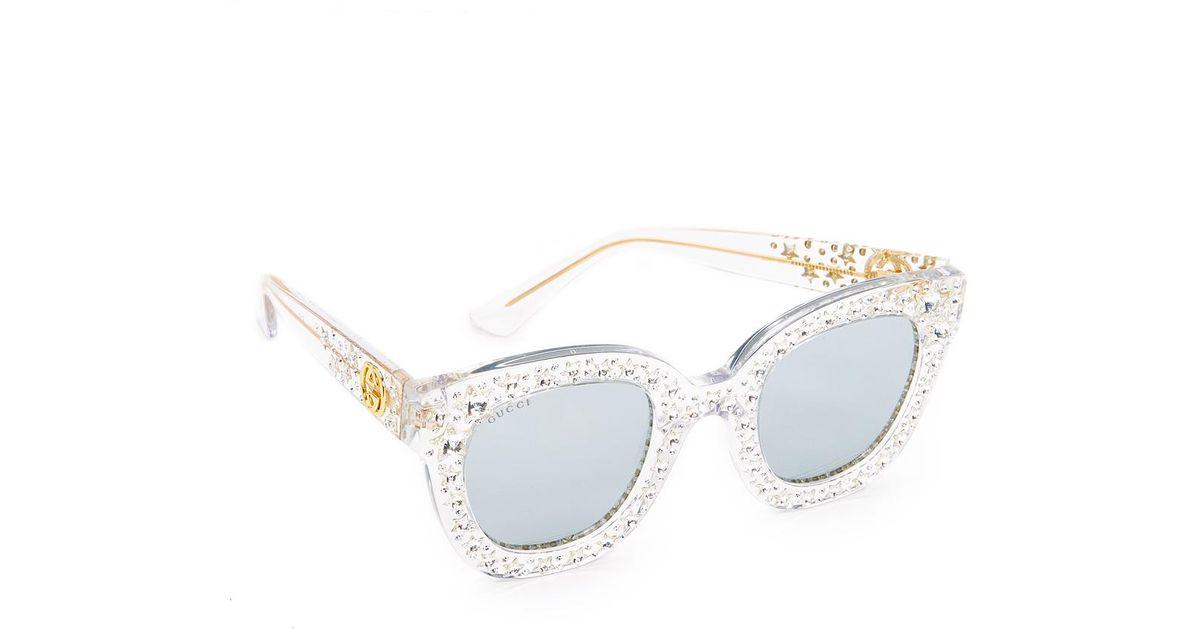 6fbfd1542e Lyst - Gucci Swarovski Crystal Square Sunglasses in Metallic