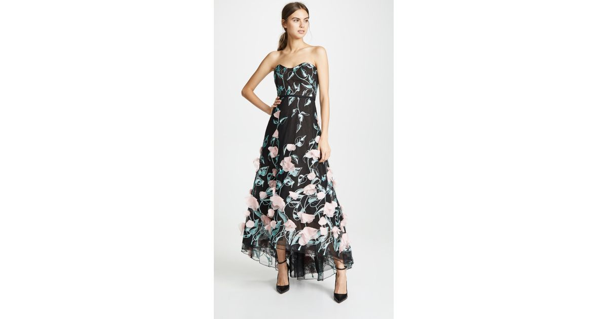 2b94dea7cea4e Marchesa notte Strapless High Low Embroidered Gown With 3d Flowers in Black  - Lyst