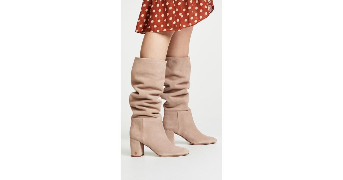 9ca7d944e5261d Lyst - Tory Burch Brooke Slouchy 75mm Boots in Natural