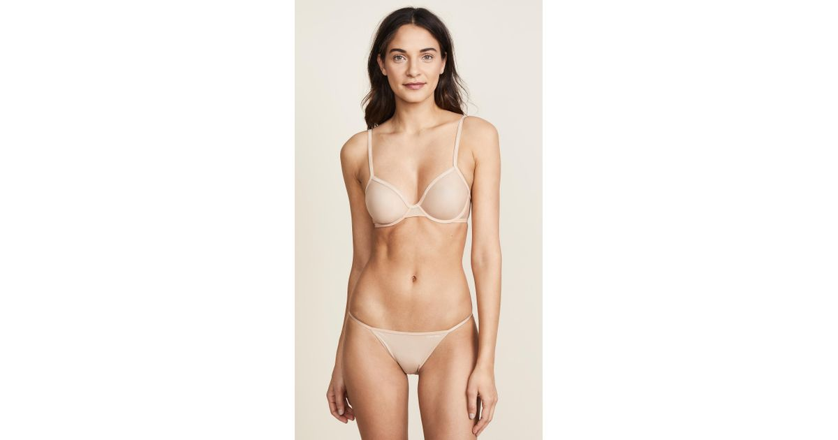 8b0c232f5a6 Lyst - Calvin Klein Sheer Marq Demi Unlined Bra in Natural