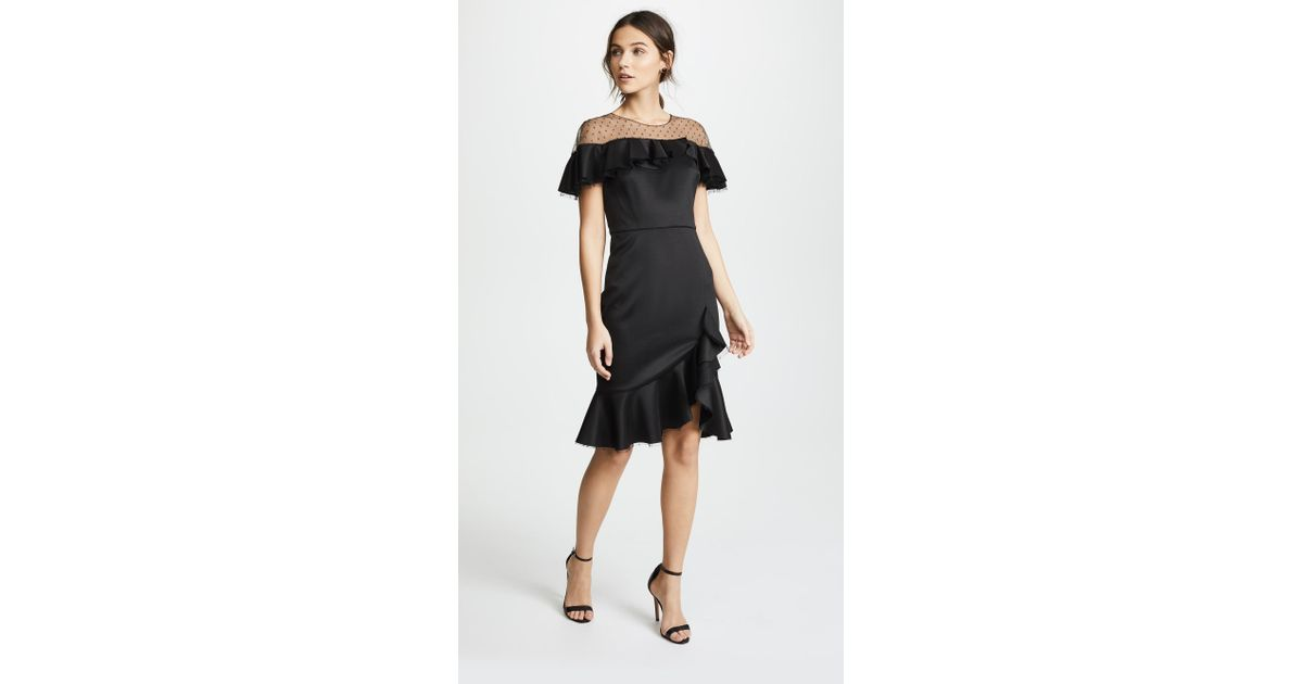 83692240a6e9f Marchesa notte Neoprene Cocktail Dress With Point D'esprit Yoke & Ruffles  in Black - Lyst