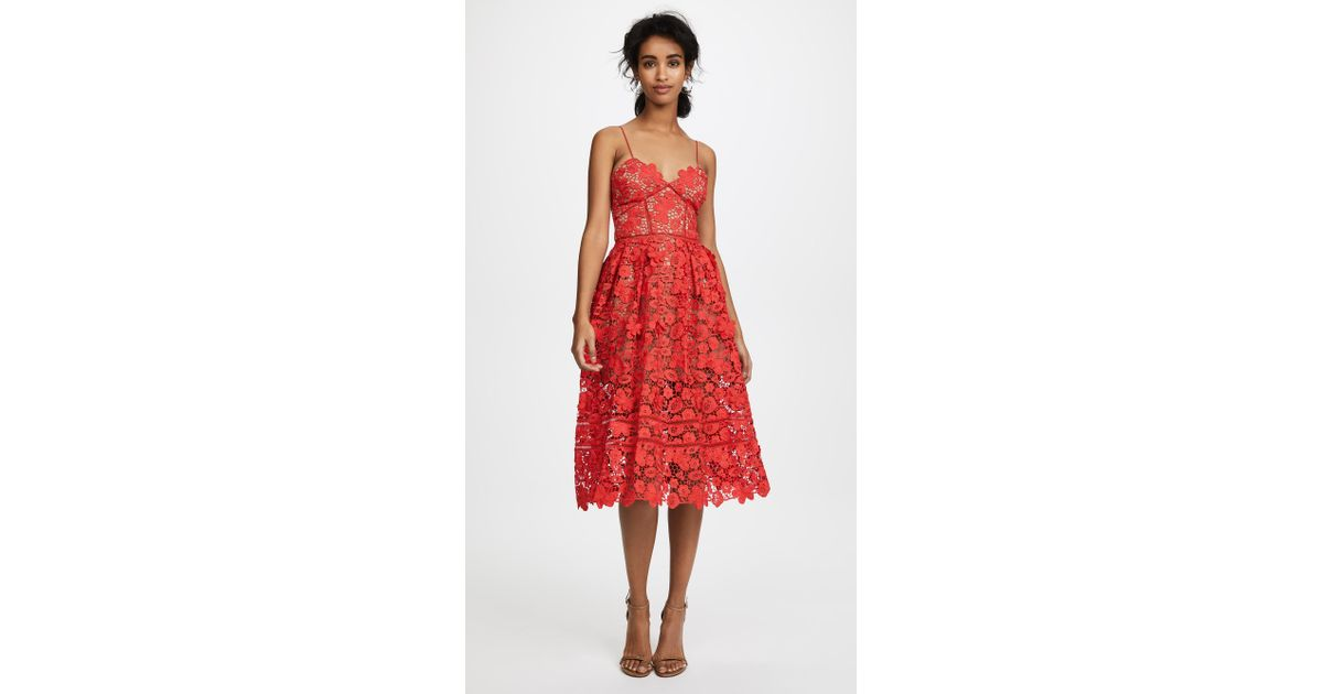 36858faed6f8 Lyst - Self-Portrait Azaelea 3d Lace Fit   Flare Dress in Red