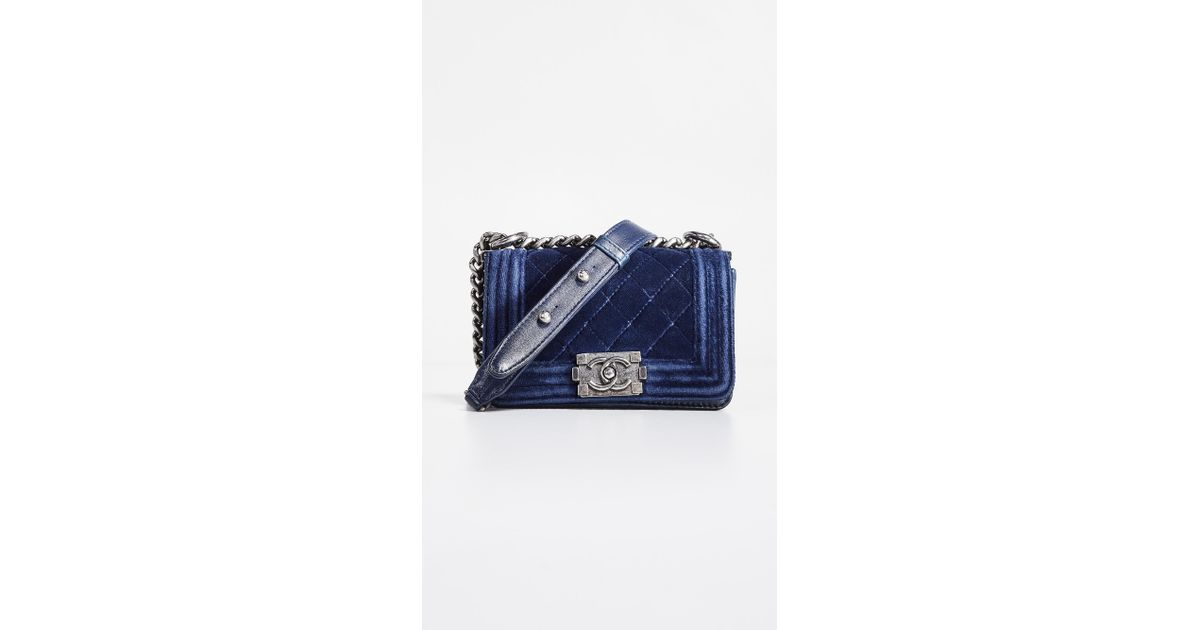 f8d59225d9b4 What Goes Around Comes Around Chanel Velvet Mini Boy Bag in Blue - Lyst