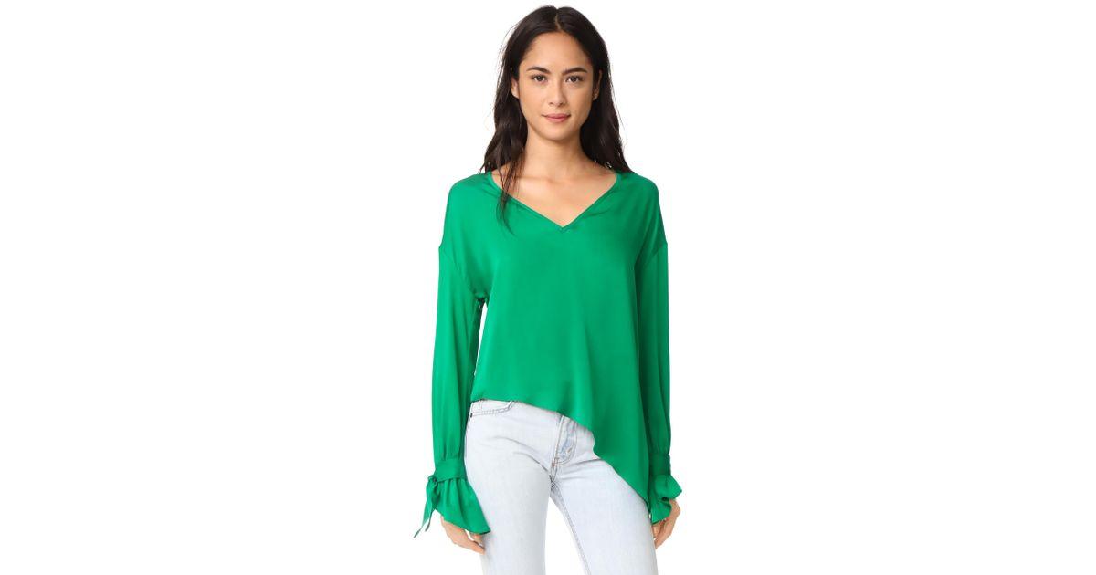 c4873493af5b6 Lyst - MILLY Silk Nicolina Top in Green