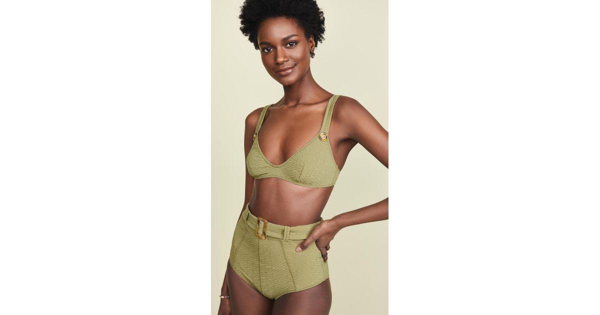 d10ecee15e8fd Lisa Marie Fernandez Magdalena Belted High Waisted Bikini in Green - Lyst