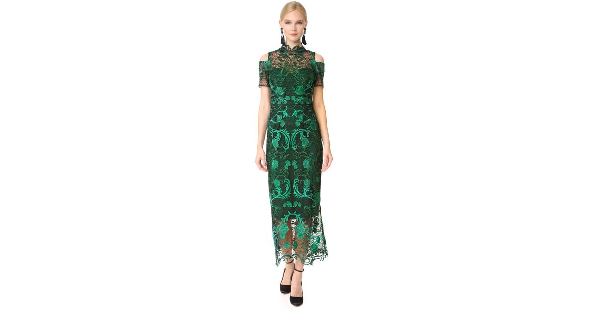 75687ff550113 Lyst - Marchesa notte Cold Shoulder Cocktail Dress in Green