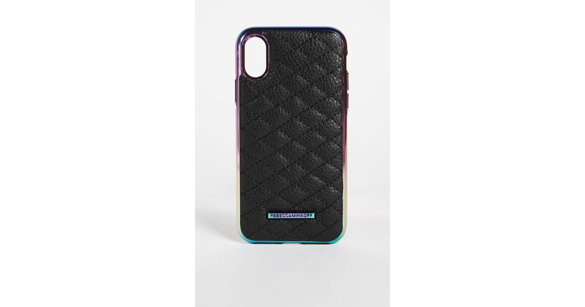 buy online e21ad 321ab Rebecca Minkoff Black Quilted Love Oil Slick Iphone X Case
